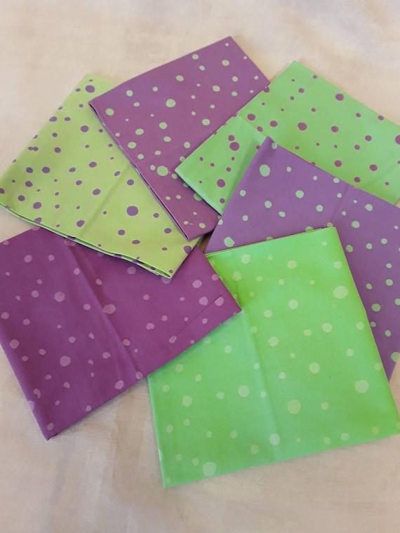 Batik Textiles Fat Quarter Bundle of 6 Hand Cut Complimentary Colors. Group 6LM Soft Lavender And Mint Green Prints of Dots