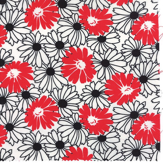 Red and Black Daisies Flower On White Weeds Collection by Me & My Sister Designs For Moda Fabric By The Yard 22223 11