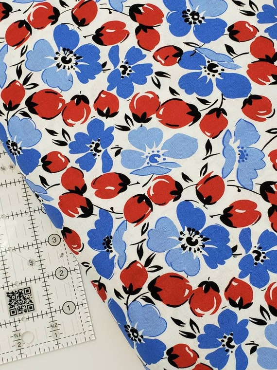 Red, Blue Flowers Buds On White, Feedsack Reproductions by Sara Morgan, Washington Street Studio Quilt Fabric by the Yard 642BR