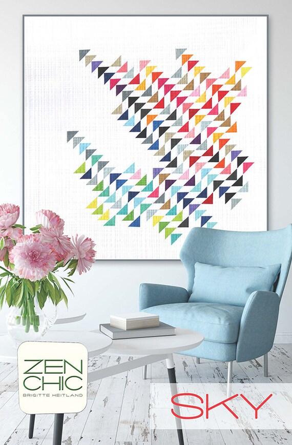 "Modern Quilt Pattern, Sky by Brigitte Heitland of Zen Chic, Beginner Level Quilter, Instructions To Make A 58"" x 58"" Quilt"