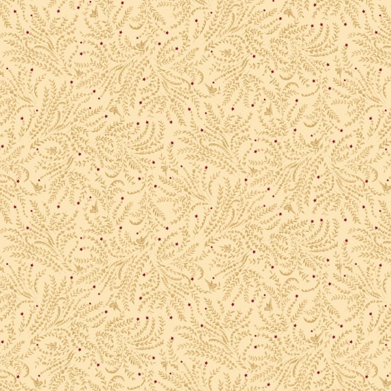 Liberty Star Kim Diehl Quilt Fabric By The Yard - Stars and Toile Neutral Creme 1586 44