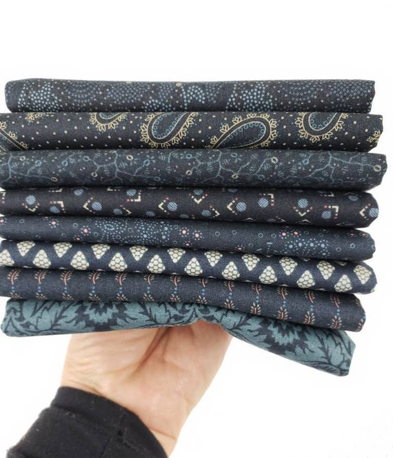 Kim Diehl Fat Quarter Bundle of 8 Handcut Navy Blue Vintage Quilt Fabric Prints, Blush and Blue Reproduction Collection, Henry Glass Fabrics