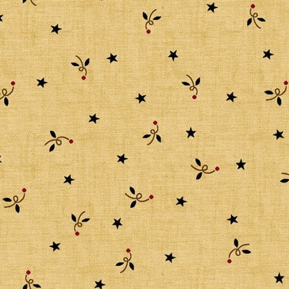 Kim Diehl Butter Churn Basics Stars and Squiggles On Beige With Hints of Blue and Red, Henry Glass Fabrics by the Yard 6286 33