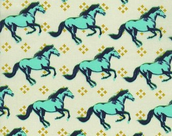 Wild Horses In Aqua and Navy With Gold Mustang Collection, Cotton And Steel, Melody Miller Leap Fabric by the Yard 0003 002