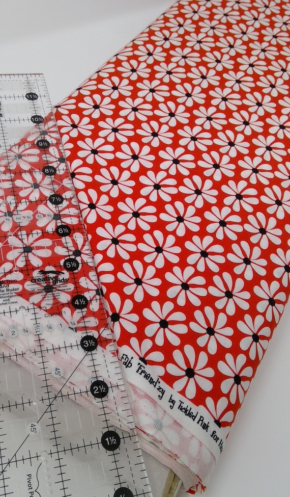"White Daisies With Black Centers on Red Background From Fab ""Friend"" ZY by Tickled Pink, Barbara Jones, Quilt Fabric By The Yard 6483 88"