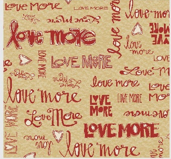 Love More Words In Red On Tan Background, Quilt Fabric by the Yard For P&B Textiles. 313R