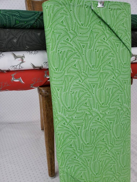 Light Spruce Green Branches and Berries, Northern Light Christmas by Annie Brady for Moda Fabrics, Quilt Fabric by the Yard 16734 17