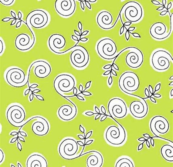 "Ink Pen Swirls On Lime Green Background From Fab ""Friend"" ZY by Tickled Pink, Barbara Jones, Quilt Fabric By The Yard 6485 66"