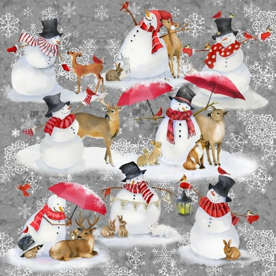 Charming Snowmen Scattered On Soft Grey Background, Fabric by the Yard, by Barb Tourtillotte, 1307-90
