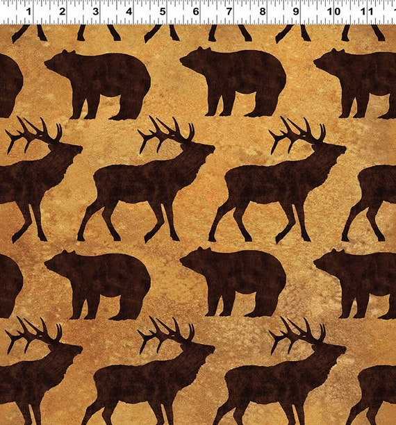 Elk And Bear In Brown On Harvest Gold Background, Elk Mountain by Clothworks Fabric By The Yard 1697 65