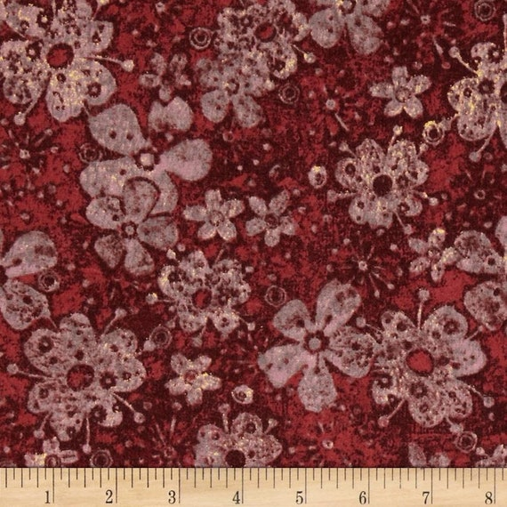 Tuscan Breeze Red Petals and Flowers, Quilt Fabric by the Yard For P&B Textiles. 893r