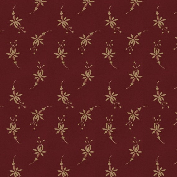 Creme Folk Floral on Medium Red Background, Patriotic Quilt Fabric, Spirit Of America, Stacy West, Buttermilk Basin 8867 84