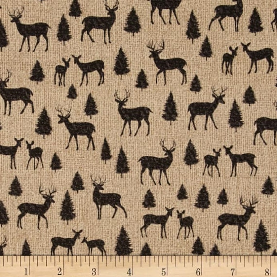 Deer Silhoutte In Black and Tan, Adirondack Crossing by Benartex Fabrics, Quilt Fabric by the Yard, 6117 12