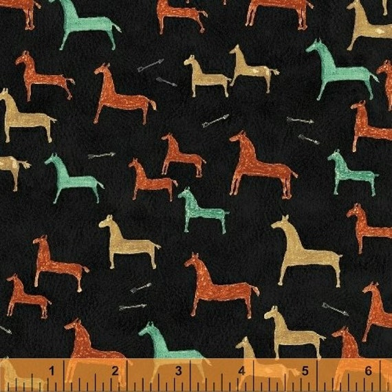 Painted Pony Native American Primitive Horses In Turquoise, Gold, And Orange On Soft Black Background, Fabric by the Yard 36555-30