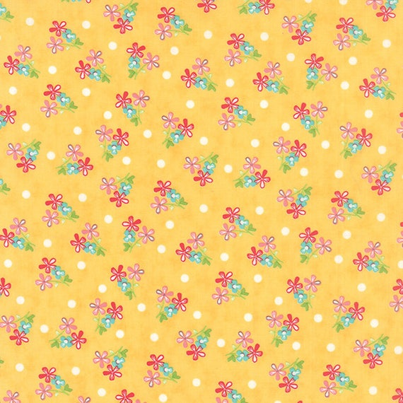 Corey Yoder Little Miss Shabby Prairie Sprigs Quilt Fabric. Little Blue and Red Flowers With a Few White Polka Dots In Background. 29003-15