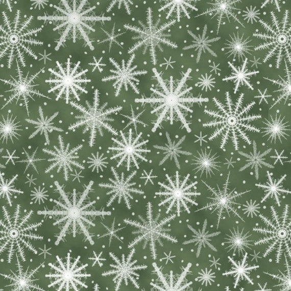 Sparkling Snowflakes on Fir Green Background, Merry Christmas. Quilt Fabric by the Yard 6932 66