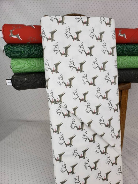 Flying Reindeer Taupe On White Background, Northern Light Christmas by Annie Brady for Moda Fabrics, Quilt Fabric by the Yard 16731 11