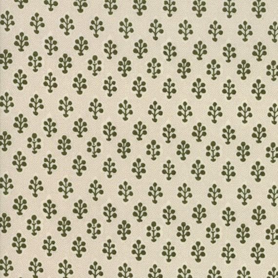 Little Green Trees on Creme Background Petites Maisons De Noel by French General Fabric by the Yard Moda Fabrics 13795 14