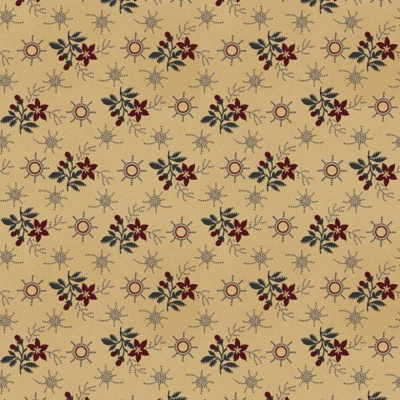 Calico Red Flowers On Tan In Primitive Folk Style, Patriotic Quilt Fabric, Spirit Of America, Stacy West, Buttermilk Basin 8864 38