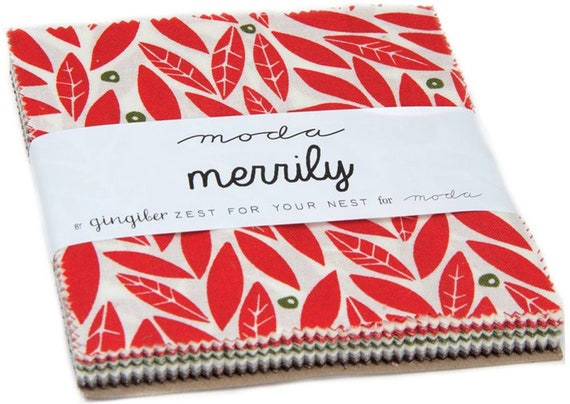 Merrily Charm Pack Quilt Fabric By Gingiber For Moda, Winter Holiday Modern Style  48210PP