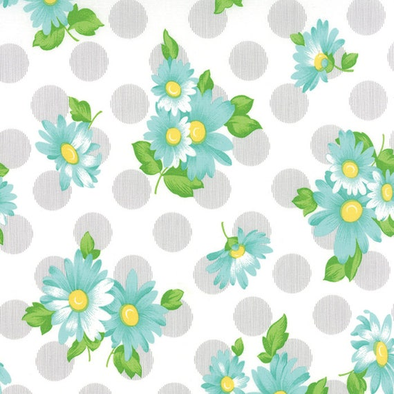 Chloe's Closet Sew and Sew Collection From Moda Fabrics. Large Grey Dots and Teal Blue Flowers. 33184 16