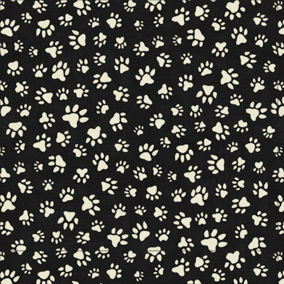 Paw Prints On Black Dog Quilt Fabric, Bandana Material, Fabric For Dog Lovers, Dog Trainers, Dog Decor.  Quilt Fabric by the Yard