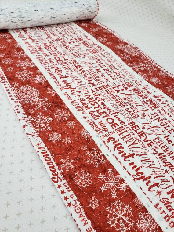 "Christmas Table Runner Perfect For A Long Table Or Side Table, Handmade In Montana, 14"" x 46"", Red And White"