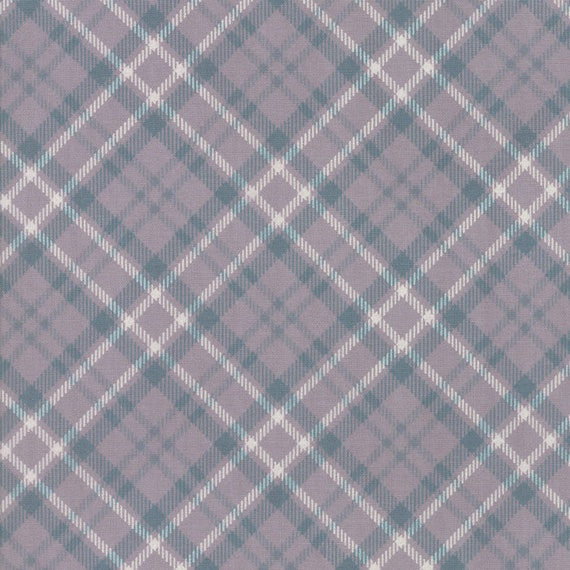 Sweetwater For Moda, The Treehouse Club Grey Plaid With White and Teal Stripes, Fabric By The Yard 5635 15