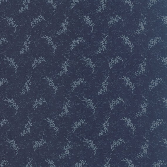 Snowbird Heather Medium Winter Blue, Cold Blue Sprigs, Laundry Basket Quilts For Moda Fabric By The Yard 42170 19