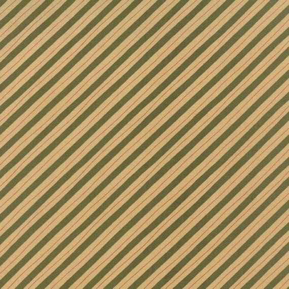 Delightful December Diagonal Stripe In Creme and Green, Sandy Gervais for Moda Fabric by the Yard 17878 13