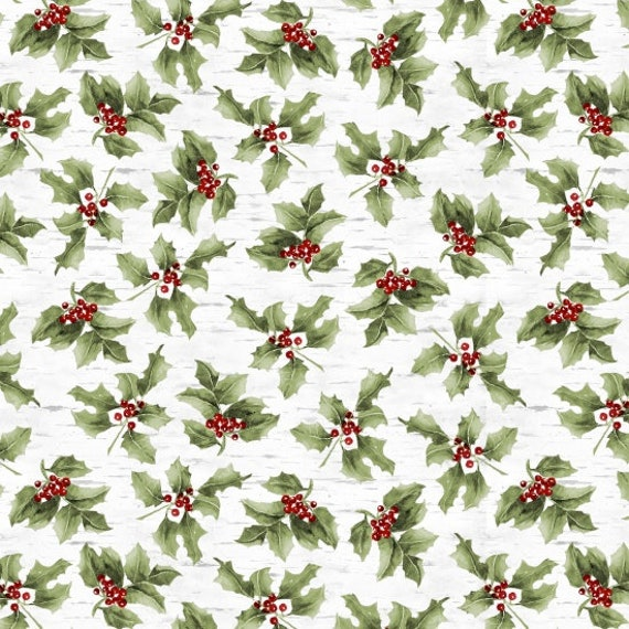Holly Berries Nestled In Holly Leaf Sprig On Soft White Background, Fabric by the Yard, by Barb Tourtillotte, 1303-6