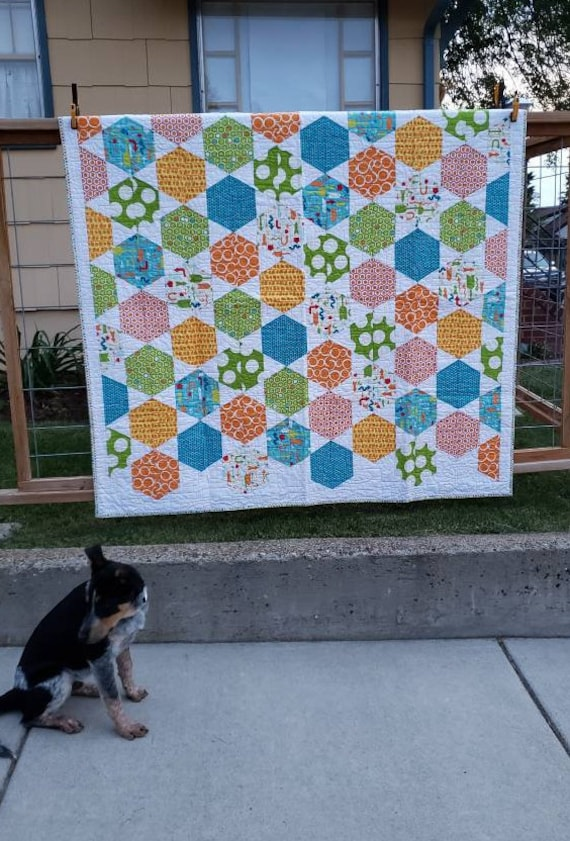 Modern Handmade Baby Quilt, Bright Greens, Blues, Orange and Some Red With A Bright Red Backing, Blanket Throw Gift For Child