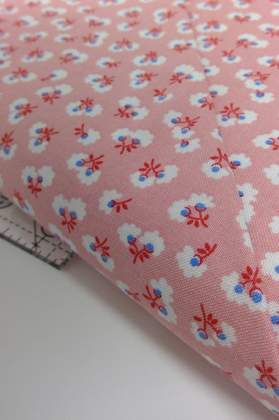 White Wildflowers On Pink, Toy Chest Florals From Washington Street Studio's For P&B Textiles, Fabric By The Yard 0413p