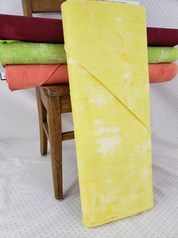 Yellow Lemon Drop Grunge Basics, Modern Textured Brush Stroke Tonal Blender, Moda Quilt Fabric by the Yard, 30150 321
