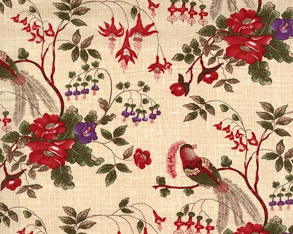 Enduring Grace by Kaye England For Wilmington Prints Quilt Fabric by the Yard, Red And Purple Flowers On Creme 98525 137