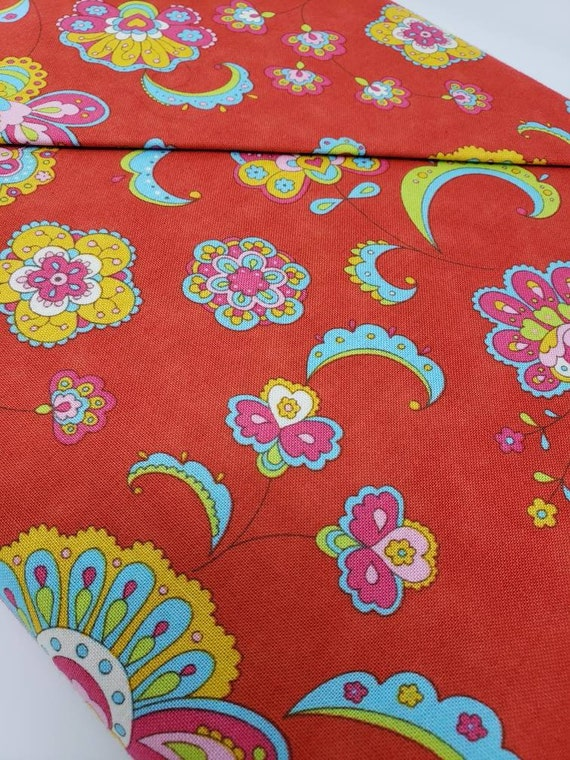 Gypsy Girl by Lily Ashbury, Speak to my Hippie Heart, Gold, Blue, Pink and Green on Red,  Moda Fabric By The Yard 11462 16