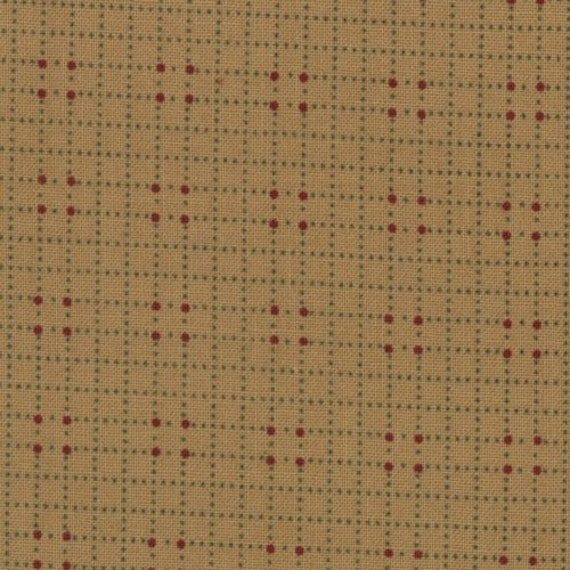 Kansas Troubles Tan Check Background With Red Dots Icicle Kisses Moda Fabric by the Yard, 9396 11