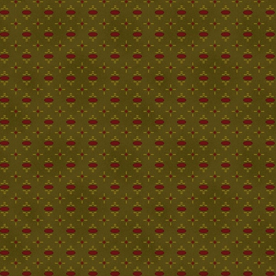 Oval Red Dot on Green, Katie's Cupboard, Kim Diehl Fabric by the Yard 6673 66