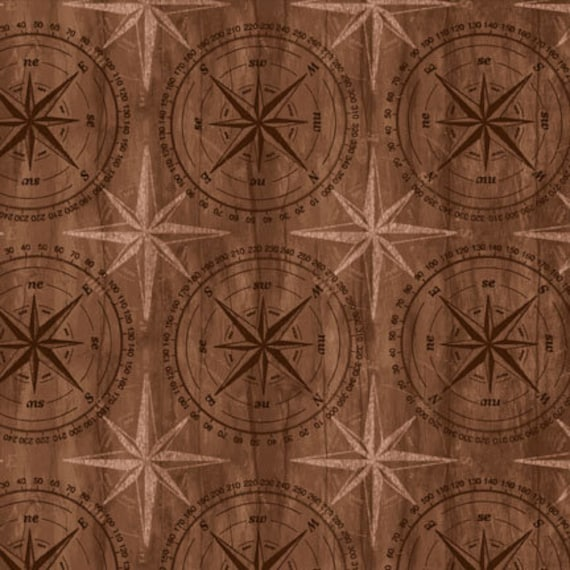 Mariners Compass Stars In Tan and Black On Brown Background, Among The Pines For Wilmington Prints Quilt Fabric by the Yard, 82405 222