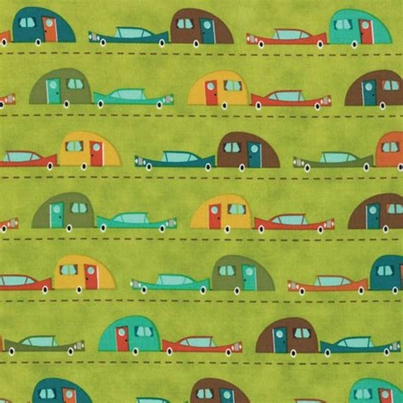 S'More Love Vintage Cars and Camp Trailers On Green Background, Designers Eric & Julie Comstock, For Moda Fabrics by the Yard  37071 14
