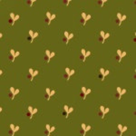 Spearmint Green Farmstead Harvest Quilt Fabric by Kim Diehl, Cotton Print, Tiny Leaf and Berry Patterned Design, Fabric by the Yard 6936 66