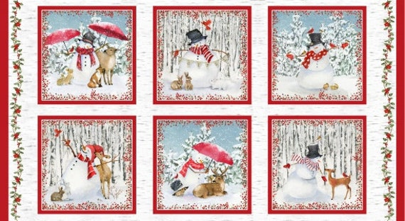 "Quilt Fabric Panel Of Six Blocks, Each 10"" x 10"" Snowman In A Winter Forest Scene With Deer by Barb Tourtillotte, Panel Is 22"" by 42"""
