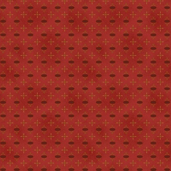 Oval Red Dot on Red, Katie's Cupboard, Kim Diehl Fabric by the Yard 6673 88