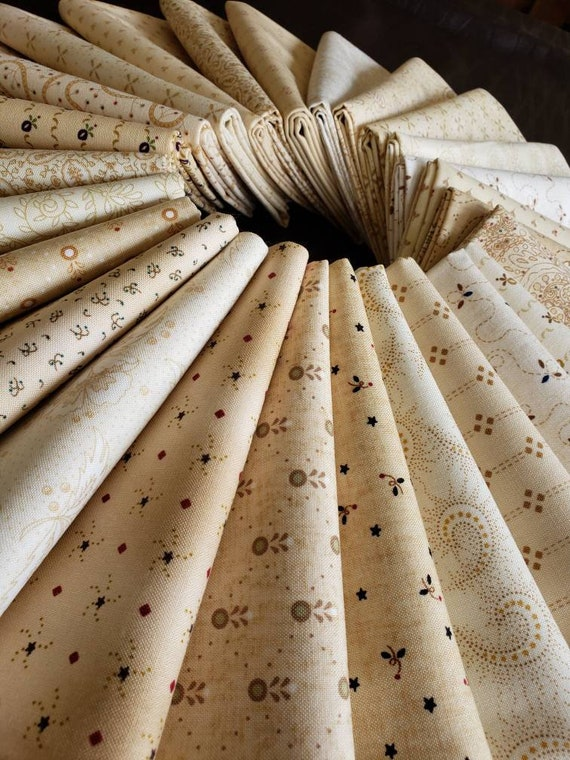 Kim Diehl Neutral Background Quilt Fabrics. 26 Fat Quarter Bundle. Hand Cut And Gently Folded. Popular Collection of Butter Churn Basics
