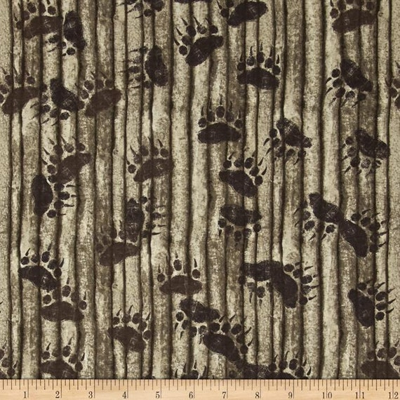 Taupe Bearpaw Prints On Wood Slat Background, Elk Mountain by Clothworks Fabric By The Yard Y1696 62
