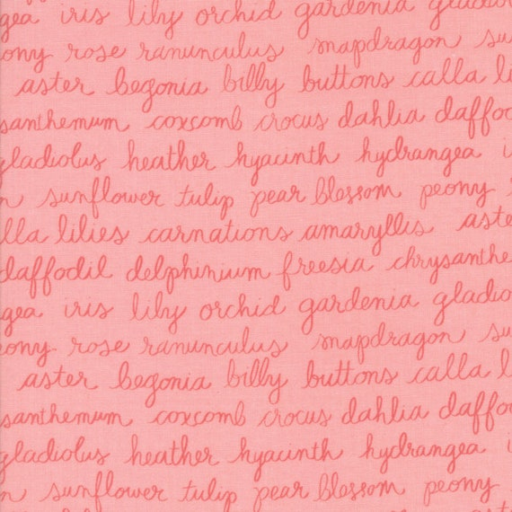 Olives Flower Garden Rose Writing On Pink, Lella Boutique for Moda Quilt Fabric By The Yard 5033 12