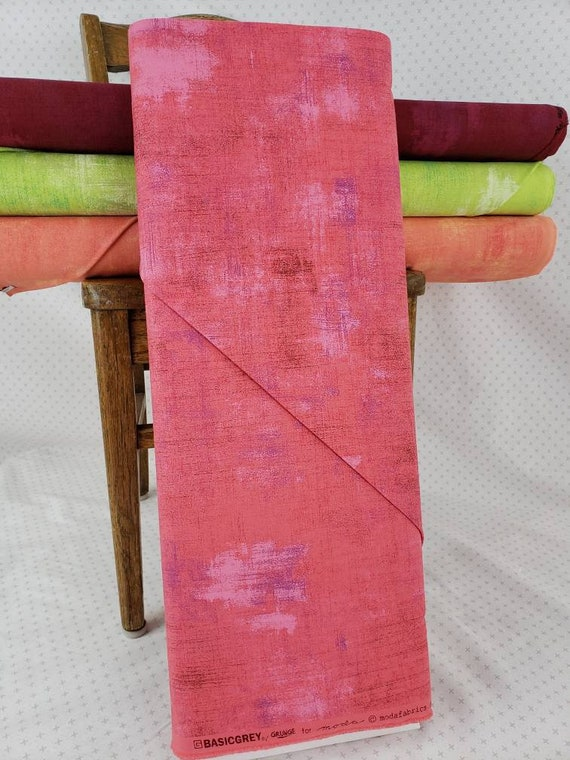 Teaberry Hot Pink Grunge Basics, Modern Textured Brush Stroke Tonal Blender, Moda Quilt Fabric by the Yard, 30150 329