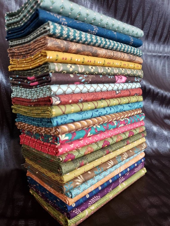Kim Diehl Fat Quarter Bundle of 24 Handcut Mediums And Darks - Primitive Patchwork Prints For All Simple Harvest - Simple Appeal - Whatnots