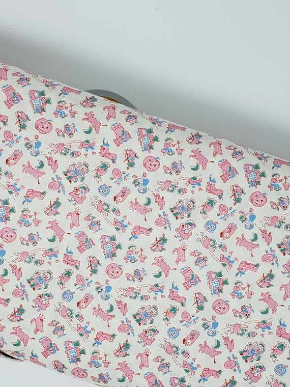 Light Pink And Blue Storytime Nursery Rhymes 1930s Style Quilt Fabric By The Yard, Toy Chest From Washington Street Studio 340P