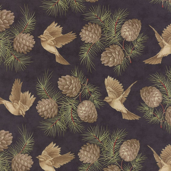 Pinecones on Soft Black by 3 Sisters For Moda, Features Tan Doves With Pine Sprigs For Rustic Holiday Quilt Fabric By The Yard 44110 14